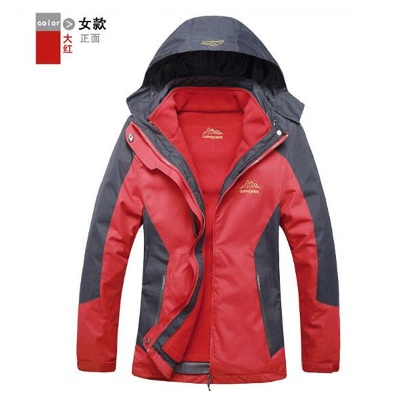 Men s Jacket 3 in 1 Outdoor Thermal Fleece Waterproof Jacket softshell Sports skating Mountaineering Climbing