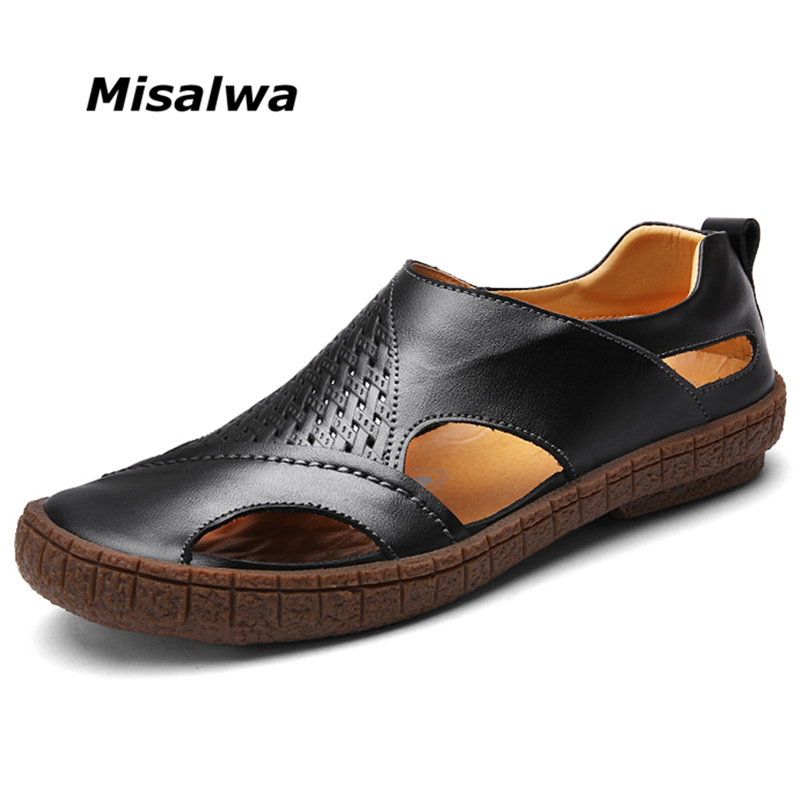 Misalwa Fashion Breathable Men Summer Sandals Comfortable Genuine Leather Men Durable Sandals Casual Leather Flats