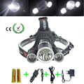 3 LED Headlight 8000 Lumens C-XM-L T6 Head Lamp High Power LED Headlamp +2pcs 18650 battery Charger+car charger