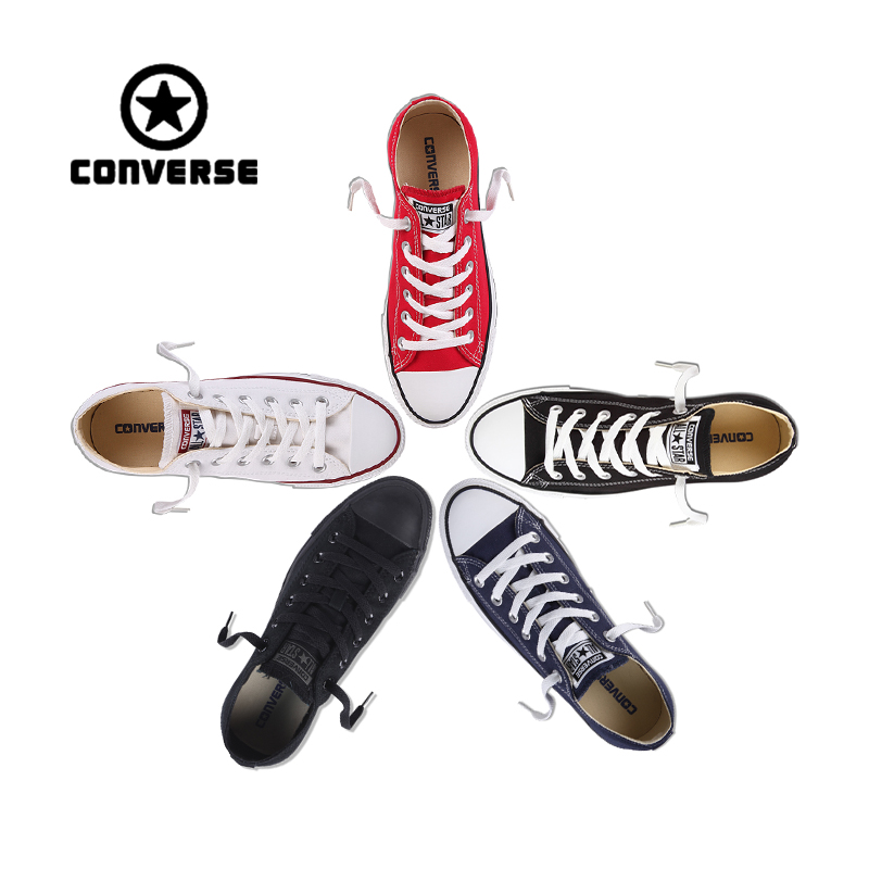 Authentic Converse ALL STAR Sneakers Classic Breathable Low-Top Skateboarding Shoes Unisex Anti-Slippery Canvas Sneakers anime converse all star skateboarding shoes boys girls pokemon snorlax white black canvas sneakers design 2 colors
