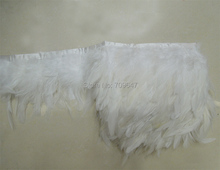 White Feather Trim,10 yards/lot! Coque Rooster Feathers Trim  for craft/clothing 4-6inches 10-15cm height