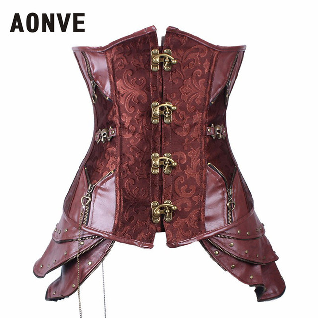 Steampunk Corset Underbust Corsets And Bustiers Steel Bone Gothic Clothing Faux Leather Corset Cincher Front Buckle Brown