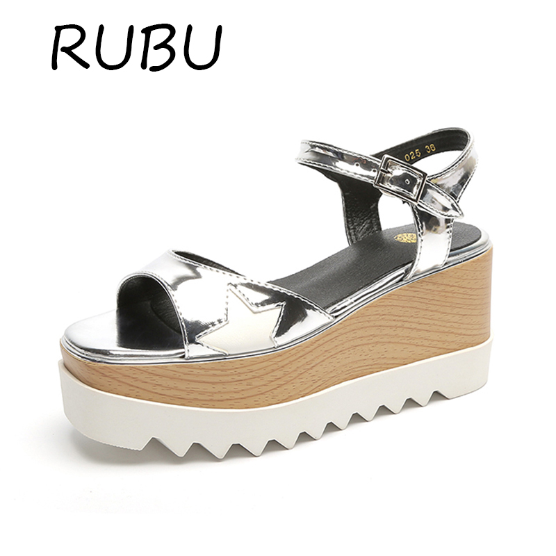 New Women Clog Platform Sandals Superstar Wedges Summer Shoes Patent Leather Ankle Strap Sandal Rubber Sole Silver Wedge Sandles phyanic 2017 gladiator sandals gold silver shoes woman summer platform wedges glitters creepers casual women shoes phy3323