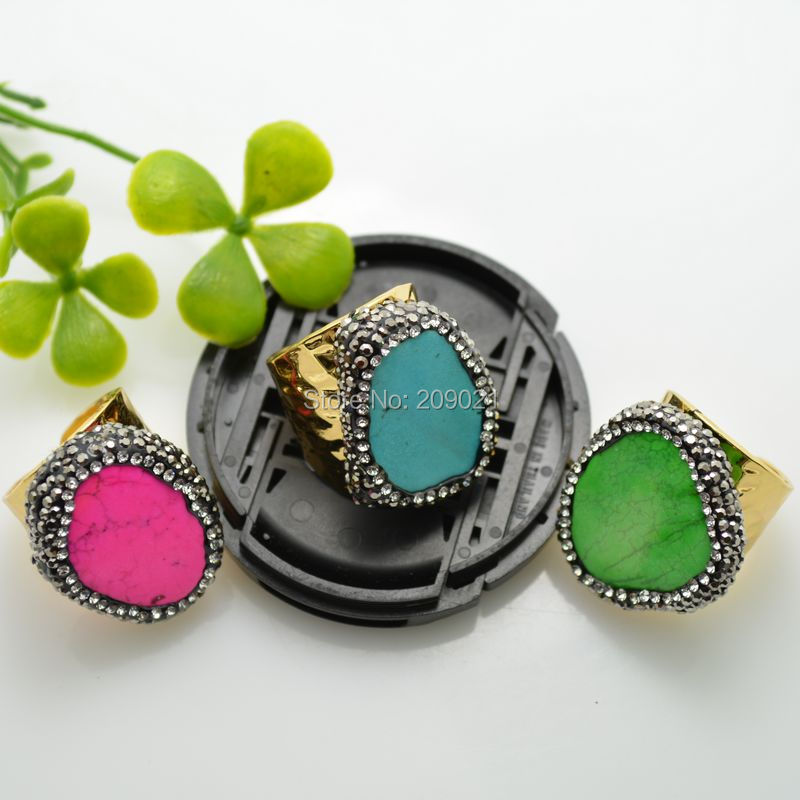 Charms 6pcs Gold Color Rhinestone Crystal Rings Mixed Colors Emperor Ring Jewelry Finding