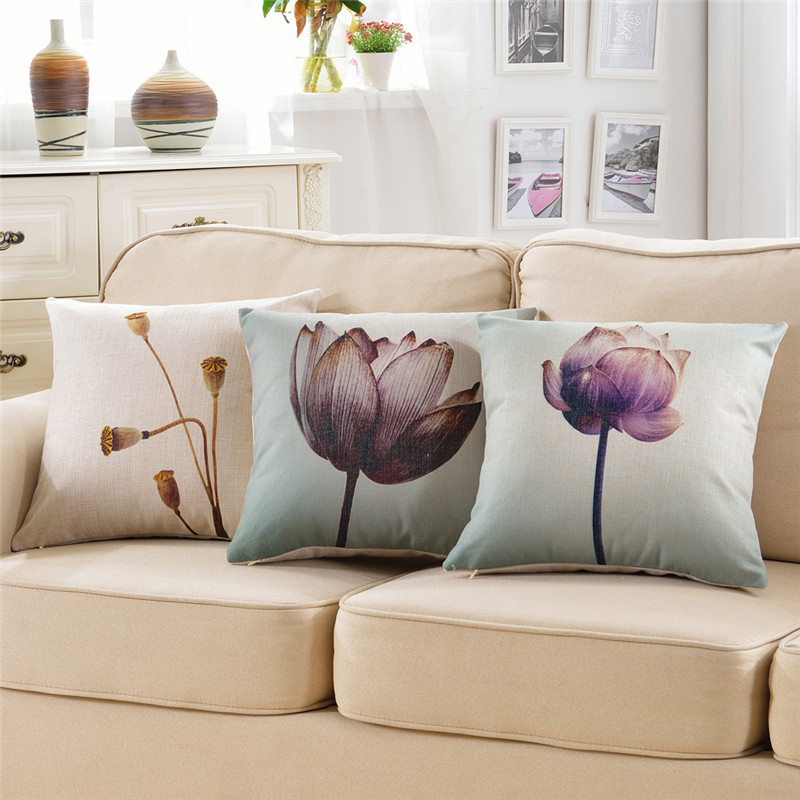 hot wholesale wedding gift pillow cover Retro dark purple lotus decorative cushion cover ...
