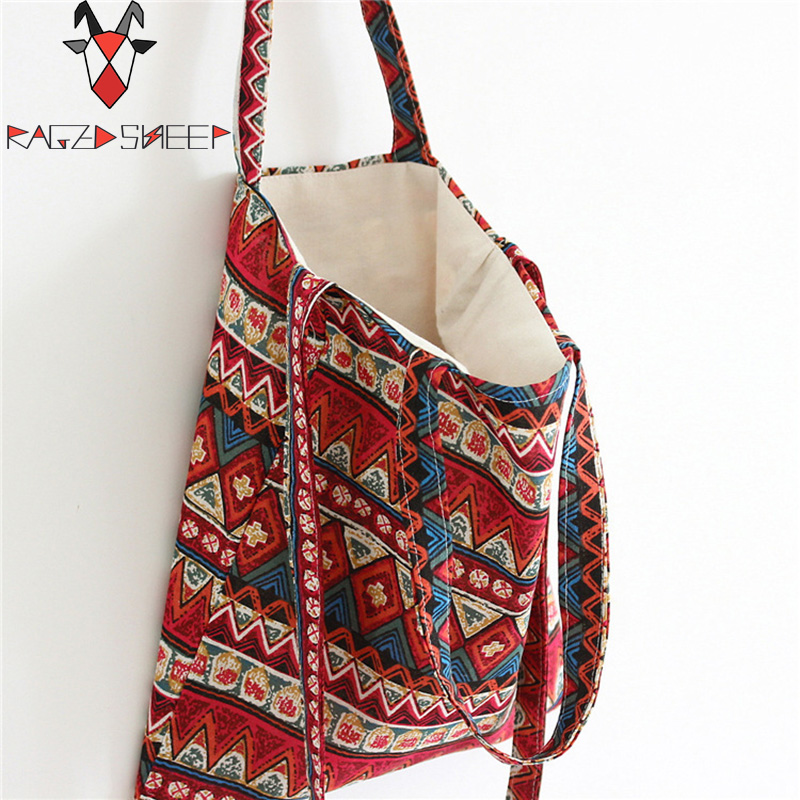 Raged Sheep Fashion Tote Shopping Bags Cotton Grocery Bags Folding Ethnic Style Shopping Cart Eco Grab Bag Reusable Bag folding reusable shopping bags