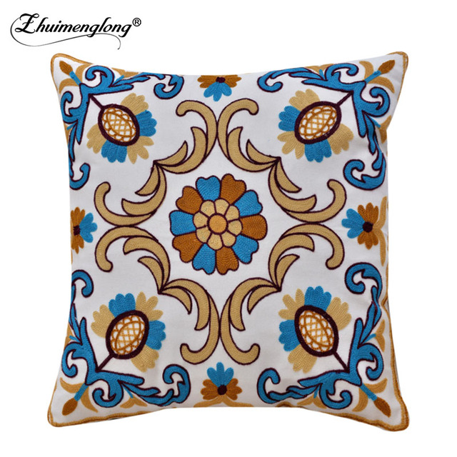 Zhuimenglong New Embroidered Cushion Covers For Sofa Chair Window Seats Throw Pillow 450 450mm Home