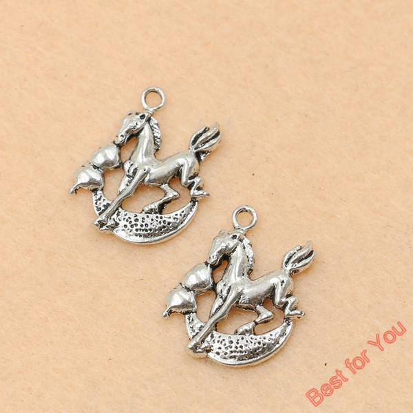 10pcs Tibetan Silver Tone Horse Charms Pendants For Jewelry Making Diy Craft Charms 20x17mm