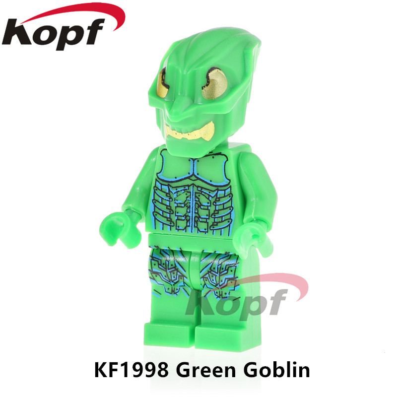Single Sale The Amazing Spiderman Figures Super Heroes 4852 Gold Eyed Green Goblin Building Blocks Toys For Children Gift KF1998
