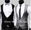 Бесплатная доставка новые мужские жилет корейских мода костюм жилет высокое качество v-образным вырезом тонкий жилет M-XL