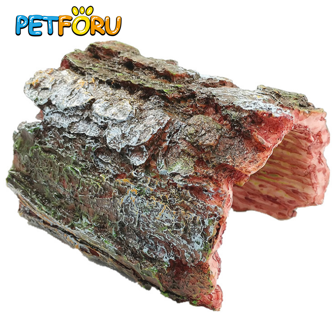 Petforu Emulational Arched Half Tree Shell Reptile Hide Rest Cave Pet Habitat Ornament