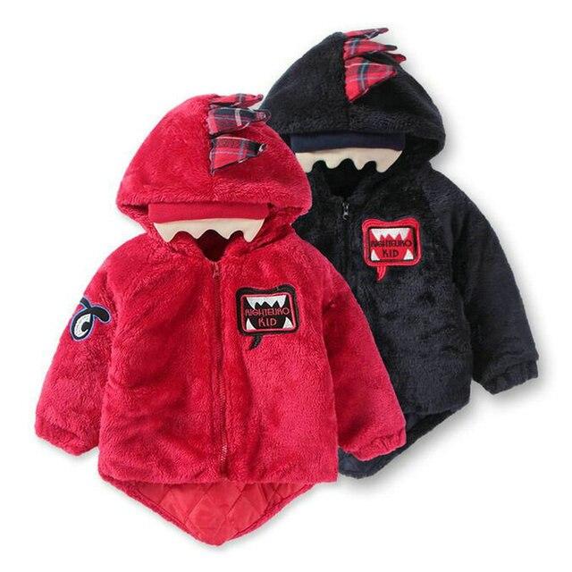 Cartoon dinosaur designer coat for girl manteau fille kinderen winter lange capuchon bebek giyim Hooded warm jackets KD010
