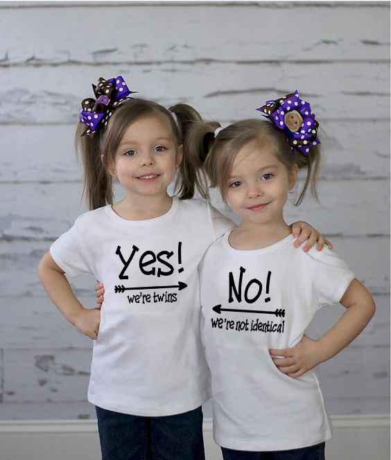 Yes We Are Twins & No We Are Not Identical White Kids Tshirt Twins BabyBoys Girls Birthday Gift Twin Clothing  Funny Wear
