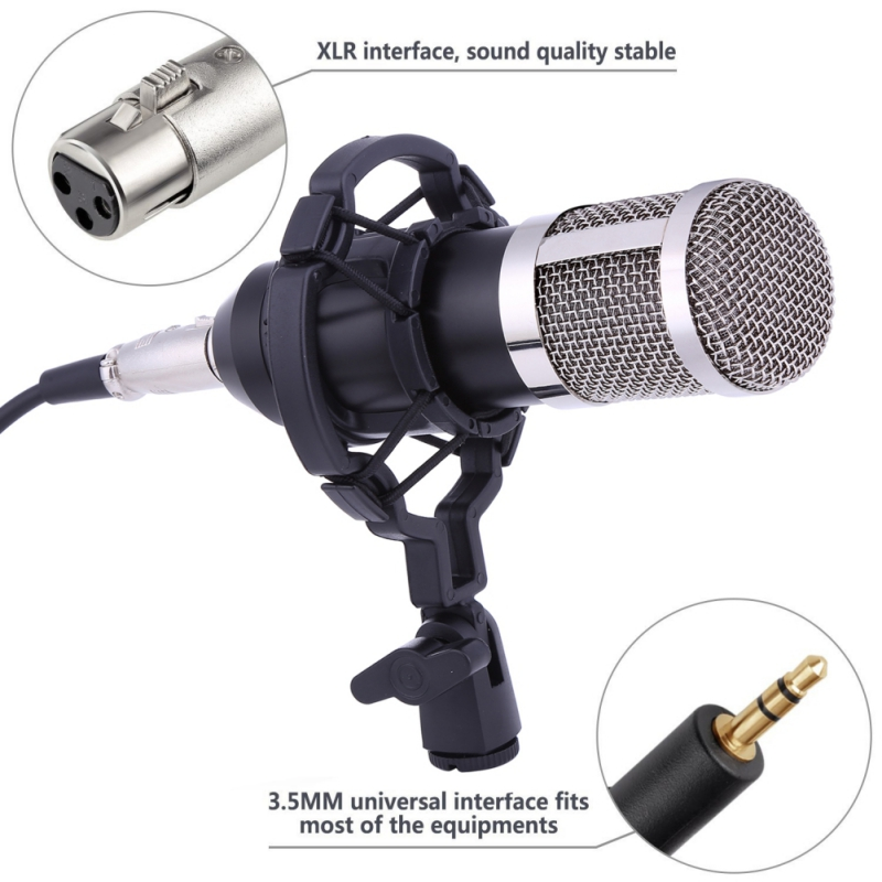 EDAL Professional BM 800 Condenser Microphone for computer Audio Studio Vocal Recording Mic KTV Karaoke Microphone stand Set