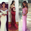White Mermaid Bridesmaid Dresses Off Shoulder Appliques Beaded Lace Wedding Formal Wear Bridal Gowns Party Vestido madrinha