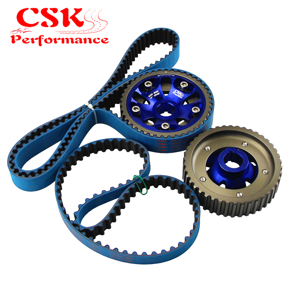 2PCS Aluminum Adjustable Cam Gear+Timing Belt 155T For Honda Prelude 93-01 H22 H22A1 H22A4