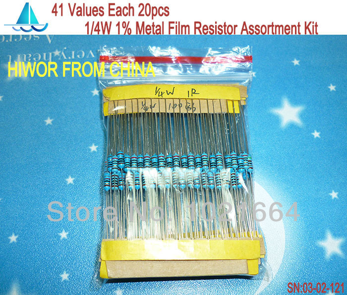 (820pcs/lot) 1ohm~<font><b>1Mohm</b></font> 41 Values*Each 20pcs 1/4W Watt 0.25W 1% Metal Film <font><b>Resistor</b></font> Assortment Kit A03 image