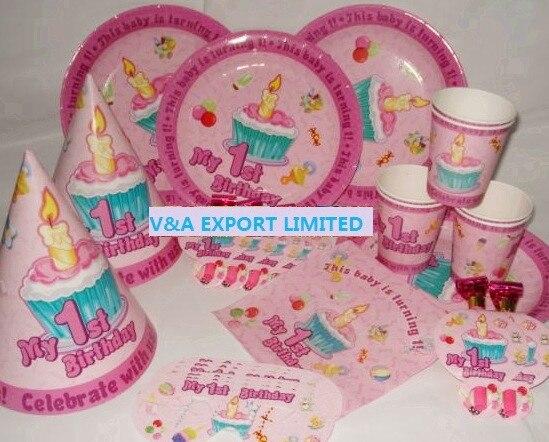 CAMMITEVER 36pcs 1st <font><b>Birthday</b></font> Pink Little <font><b>Girl</b></font> <font><b>Cupcake</b></font> Tissue <font><b>Cup</b></font> Plate Mask Whistle Party Supplies Decorations Kid Gift