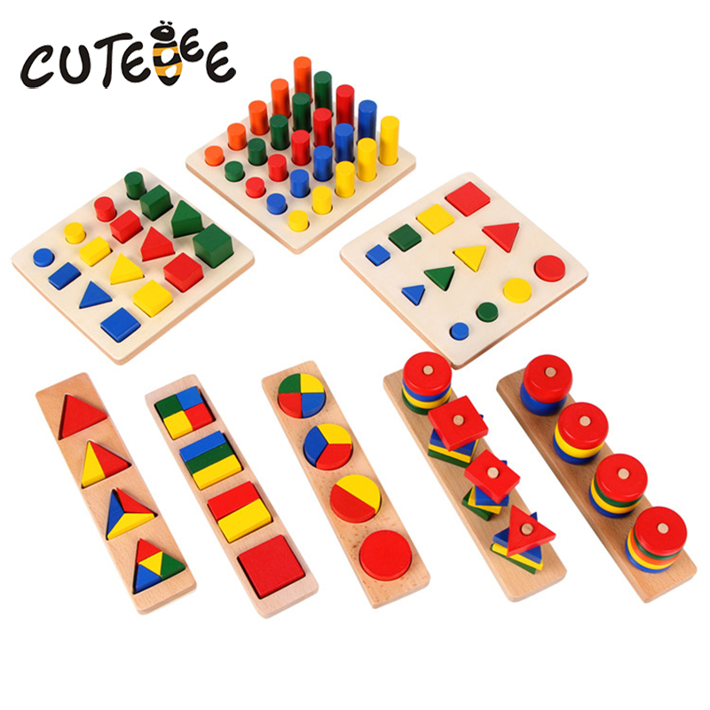 CUTEBEE Learning Wood Teaching Aids Montessori Educational Toys for Children Kids Geometry Shape 8Pcs/Set Portfolio Block Toy simingyou kids toys colored wood double sided magnetic children drawing board montessori c20 q 15 drop shipping