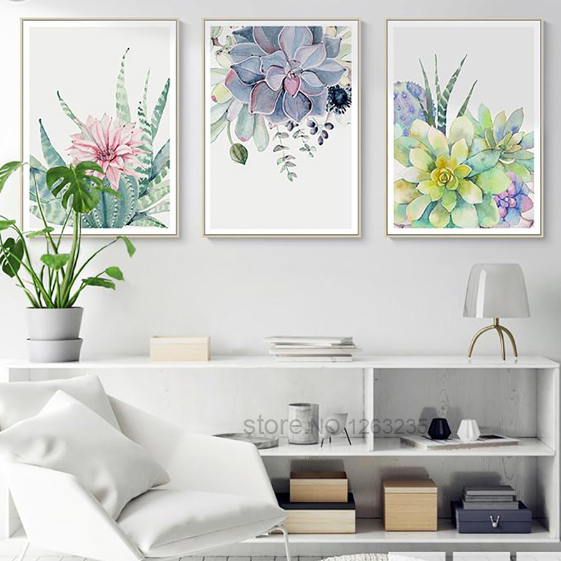 HTB1XGrom8fH8KJjy1Xbq6zLdXXan Succulent Plants Nordic Poster Leaf Cactus Flowers Wall Art Print Posters And Prints Canvas Painting Wall Pictures Home Decor