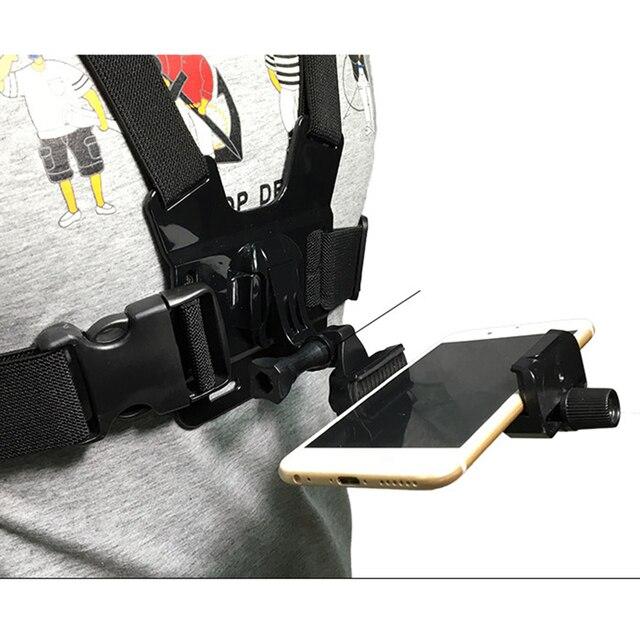 Arnés de montaje en pecho para teléfono móvil, soporte de correa, Clip para teléfono móvil, Cámara de Acción para Samsung iPhone Plus, correas ajustables