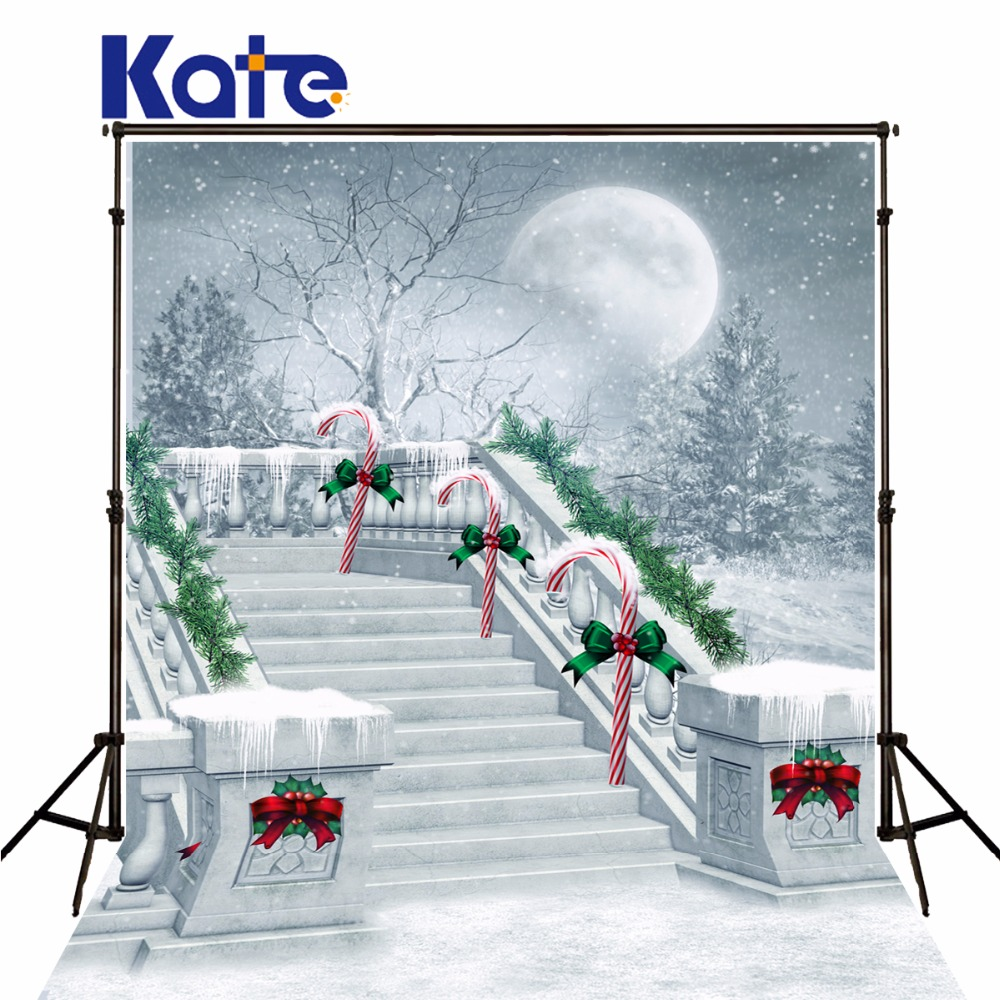 Kate Christmas Outdoor Photography Background Stairs Christmas Tree Backdrop Snowflake Happy New Year  For Children Photo Studio