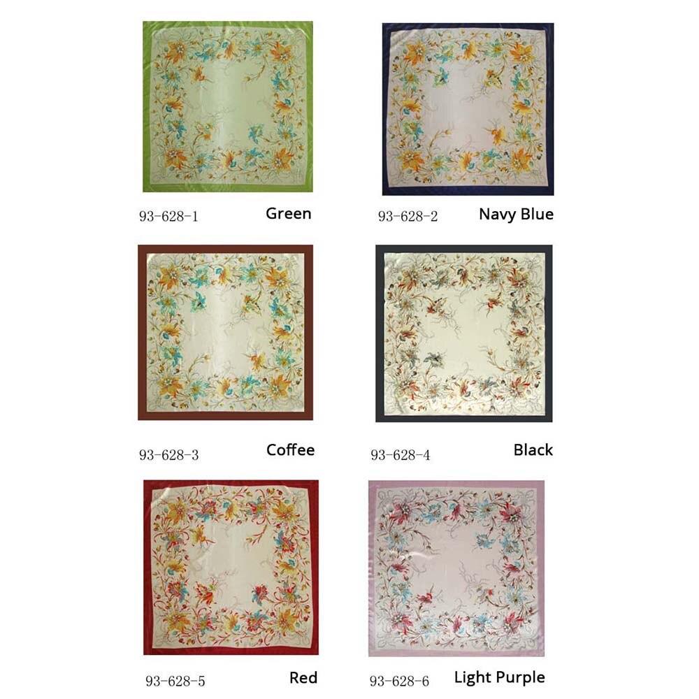 2018 new women scarf thin spring soft shawl scarf satin fashion floral printed female square scarves wraps 90*90cm arab mujer
