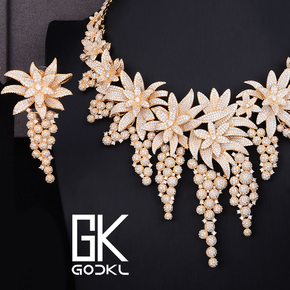 GODKI Luxury Flower Cubic Zircon Nigerian Jewelry sets For Women wedding DUBAI Gold Jewelry sets African
