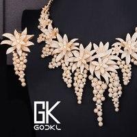 GODKI Luxury Flower Cubic Zircon Nigerian Jewelry sets For Women wedding DUBAI Gold Jewelry sets African beads Jewelry Sets 2018