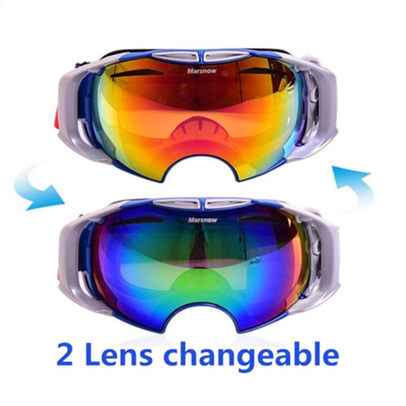Новые зимние очки двойной линзы Сменные для дня и ночи Анти-туман Лыжный Спорт очки Восхождение snowboardgoggles с сменяемые объектива