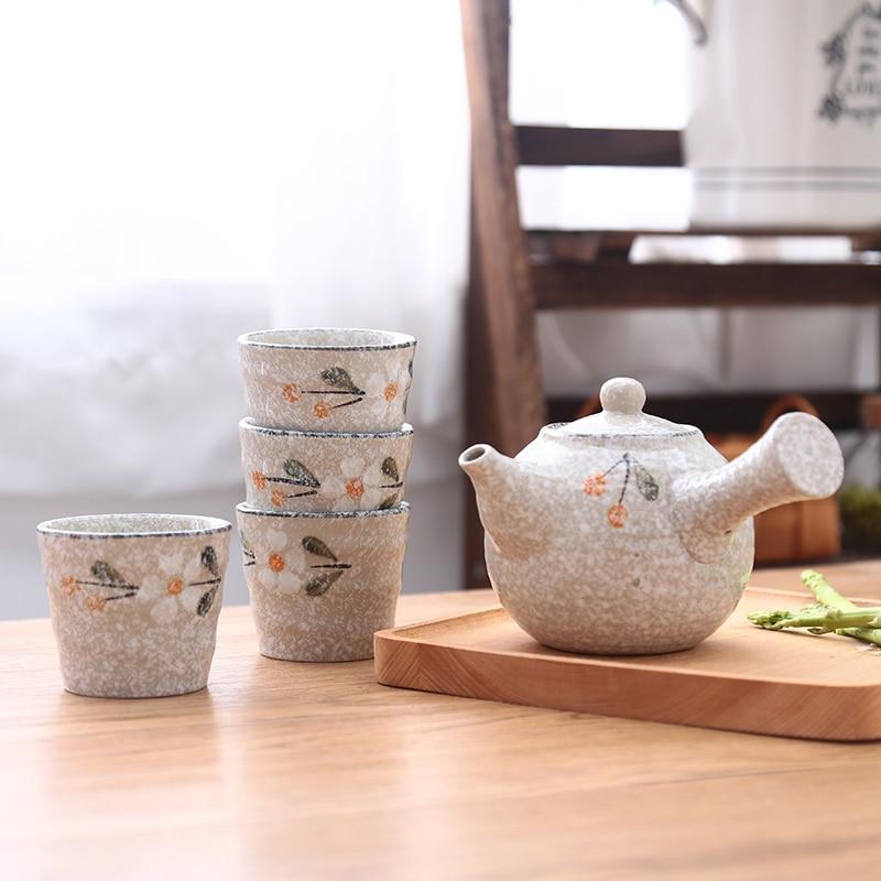 Japonais céramique Kungfu thé cérémonie pot tasse coréen chinois fait à la main puer oolong thé théière set neige glaçure