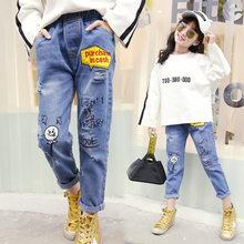 b30eeb28d7bfdc Jeans strappati Per Le Ragazze Dei Capretti Della Stampa del Denim Pant  Pantaloni Lunghi 2018 di Autunno Del Bambino Della Ragaz.