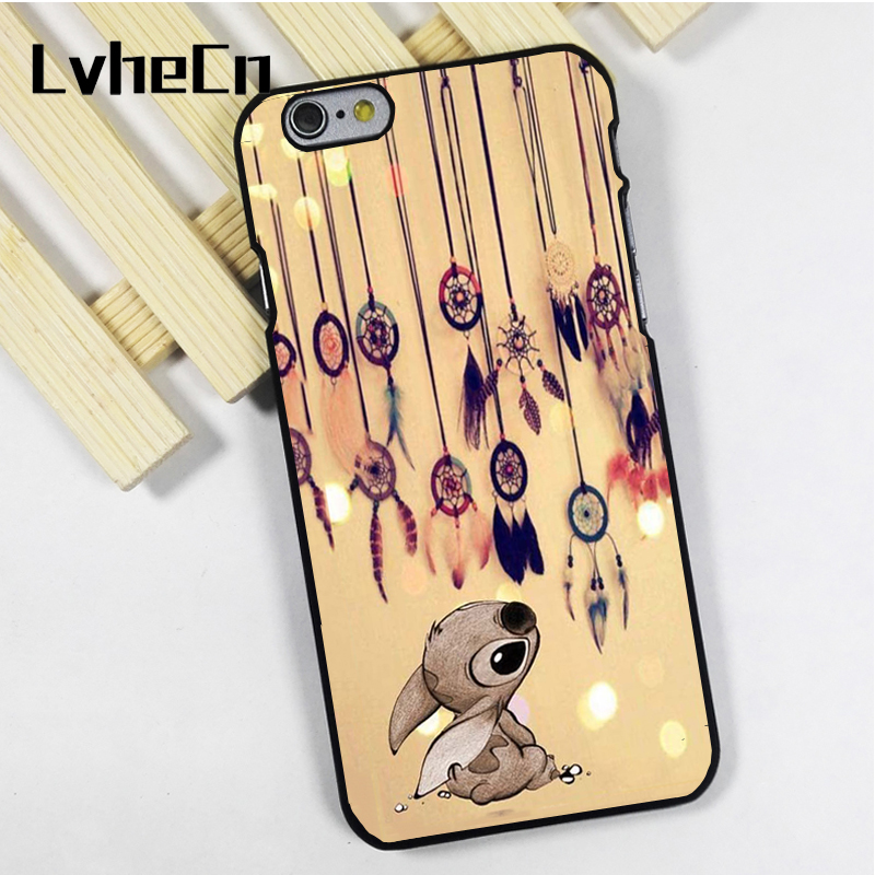 LvheCn phone case cover fit for iPhone 4 4s 5 5s 5c SE 6 6s 7 8 plus X ipod touch 4 5 6 Dream Catcher and Stitch