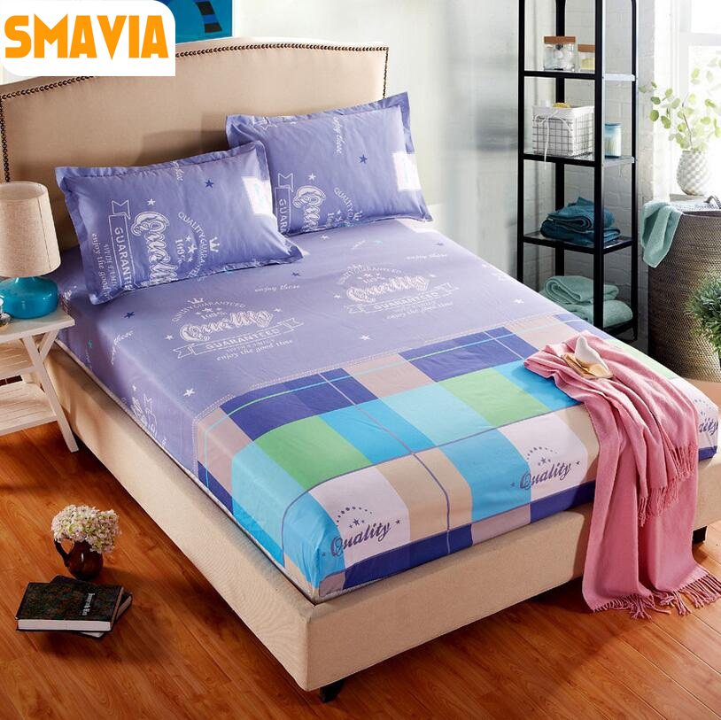 SMAVIA Hot Sale Printed Bed Sheet Set 100% Polyester Bed Fitted Sheet Protection Mattress Covers with 2 Pillowcase 120/150/180CM