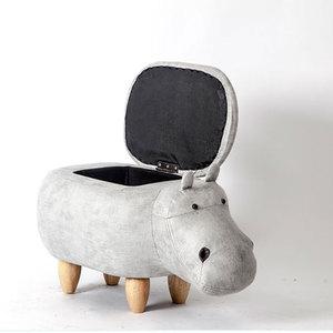 2018 Top Fashion Hot Sale Hippo Taburetes Chair Wood Stools Shoes Designer Furniture Sofa Storage Containing Modern Pouf Poire
