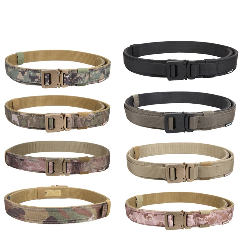 New high-quality 1.5-inch shooting tactical belt nylon wear-resistant belt metal buckle outdoor protection live CS hunting belt titanium multifunction buckle key chain kettle buckle never rust super light wear resistance outdoor travel essential equipment