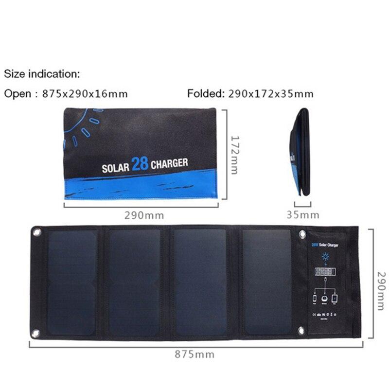 5 v 28 w Solaire Panneau Solaire Power Bank 3 USB port Solaire De Charge Solaire Externe Batterie Chargeur pour Xiaomi samsung Mobile Téléphone