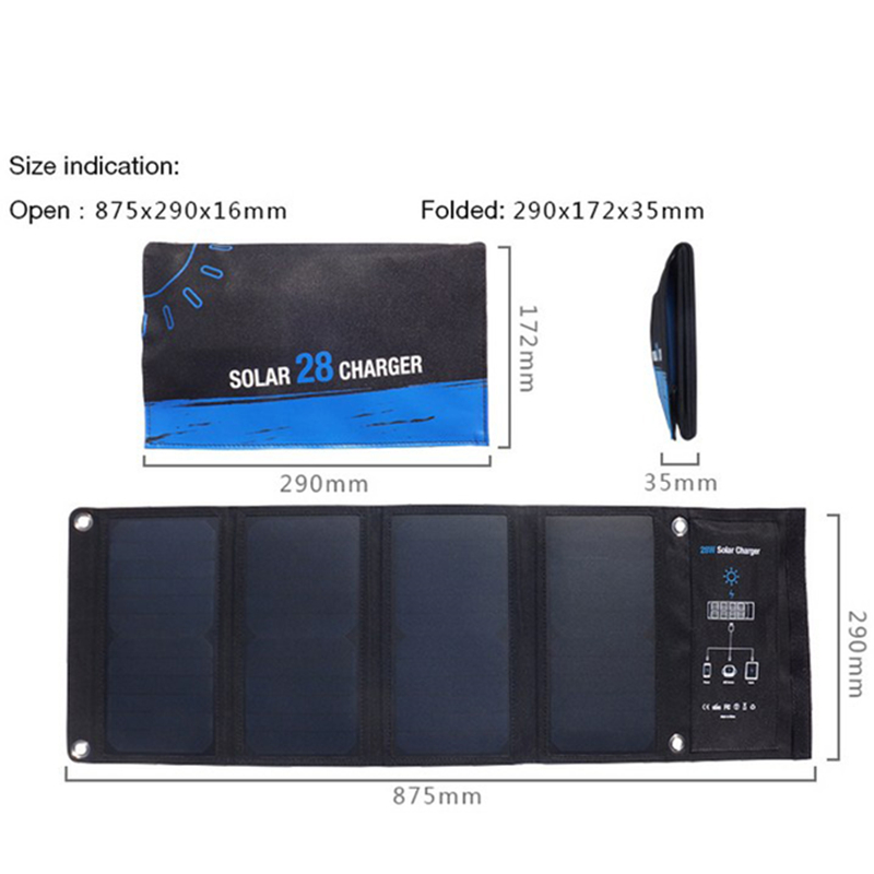 5V 28W Solar Panel Solar Power Bank 3 USB port Solar Charging Solar External Battery Charger for Xiaomi Samsung Mobile Phone 12w dual usb folding solar charger solar panel module power bank outdoor emergency cell phone charger voltage current display