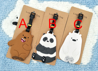 30 pcs/lot Cute We Bare Bears luggage tag anime animal figure Grizzly Panda Ice Bear PVC pendants 3 styles free shipping