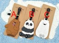 30 pcs/lot Cute We Bare Bears luggage tag anime animal figure Grizzly Panda Ice Bear PVC pendants 3 styles free shipping
