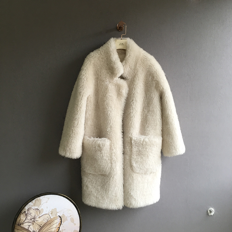 100% шерстяное пальто Верхняя одежда для женщин утолщение теплые зимние куртки Женский Стенд воротник карманы белая шерстяная 2018 Новин