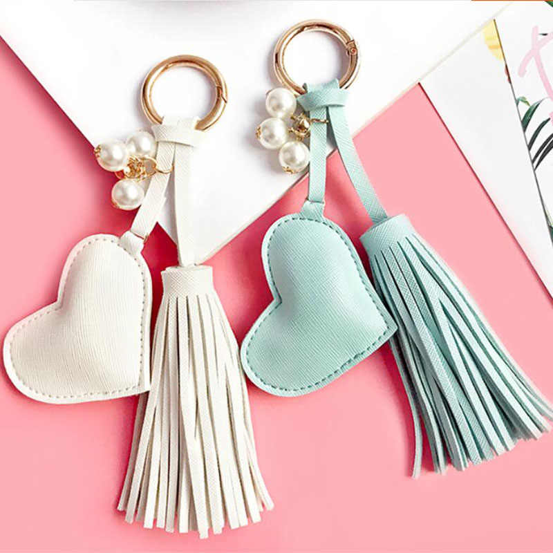 Keychain Leather Ring Car Women Metal Charm Tassel Handbag Pendant Key Chain us
