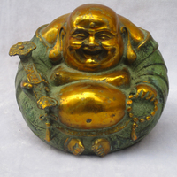 Collectible Chinese Decorated Old Bronze Carved Gold Gilt Laughing Buddha Sculpture Antique Buddha Statue