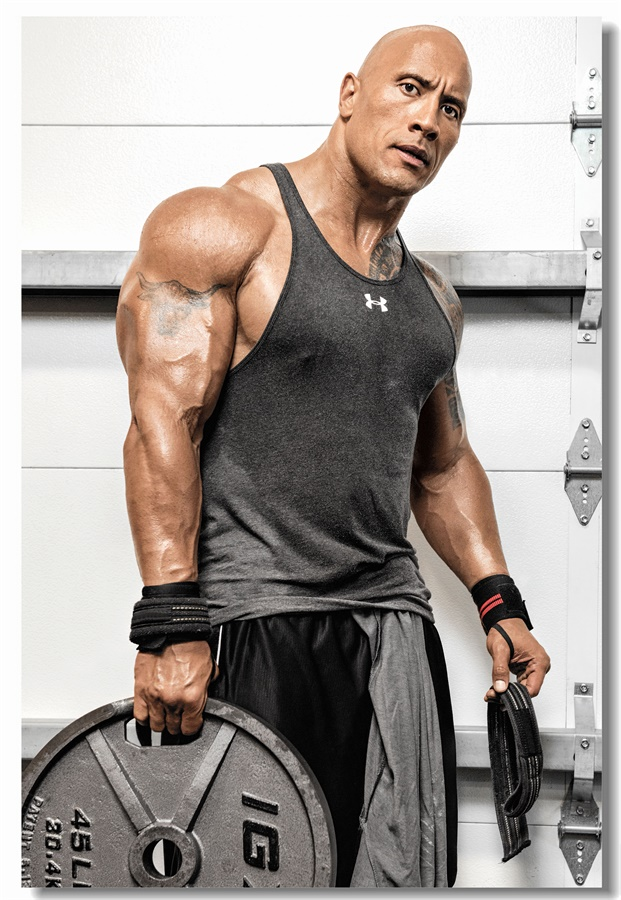 Dwayne The Rock Johnson Bodybuilding Gym Large Wall Art Poster Print