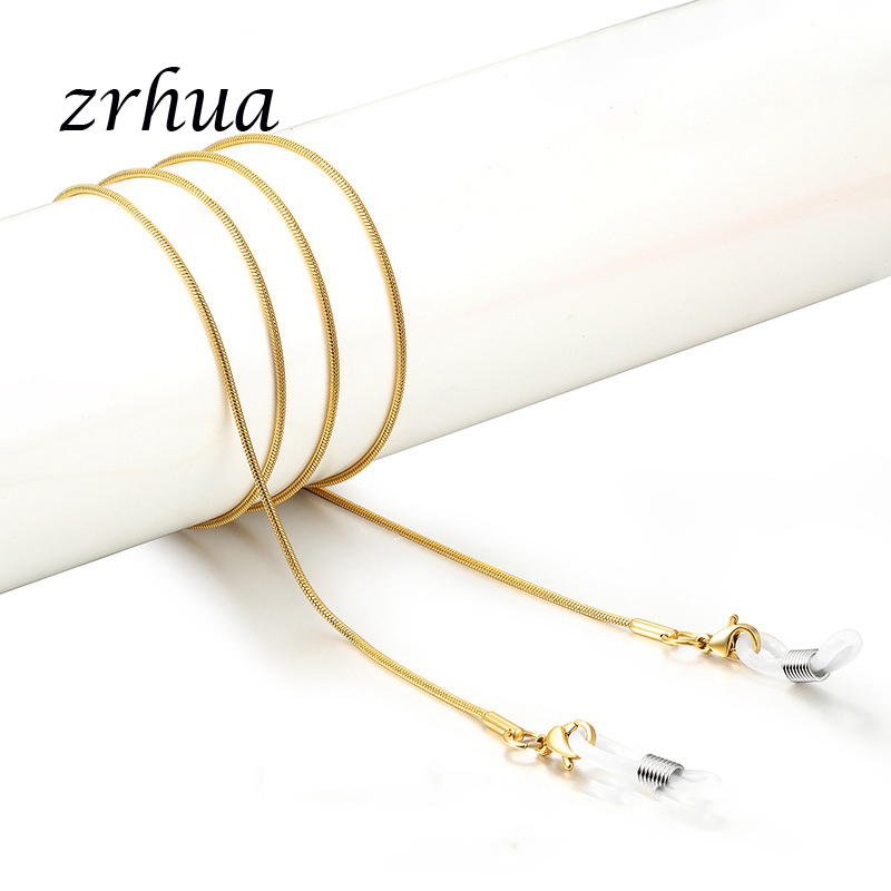 ZRHUA Gold/Silver Color Cross Snake Chain Sunglasses Chains Necklace Reading Glasses Cord Holder Neck Strap Rope For Eyewear