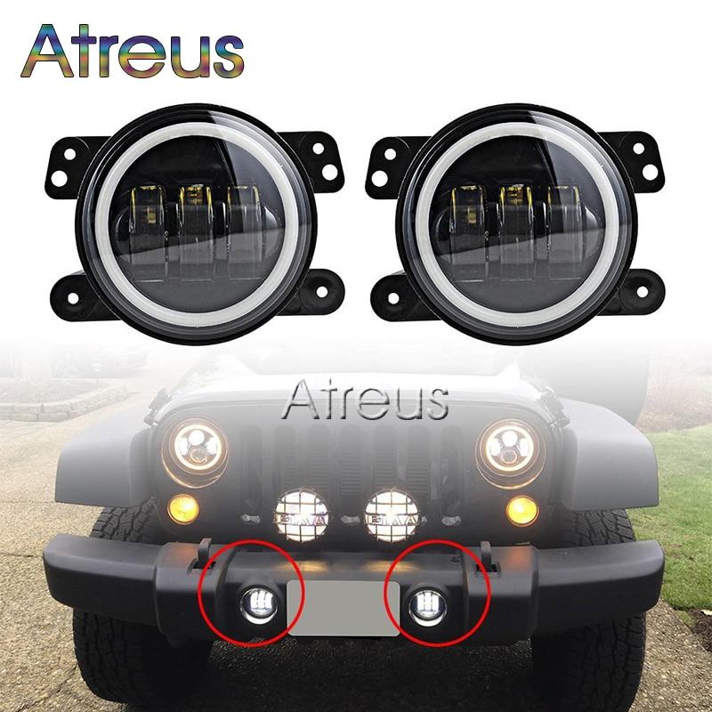Atreus Car LED Fog Lights For Jeep Wrangler JK For Dodge Magnum Journey For Chrysler 300 PT Cruiser 4 30W with DRL Angel eyes chrysler pt cruiser 2 0 i 16v