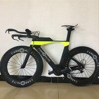 Stock Only 1 TT Complete Bike Time Triathlon Carbon Bicycle Frame+TT Carbon Handlebar+88mm Carbon Wheel+R8000 Group+Saddle+Pedal