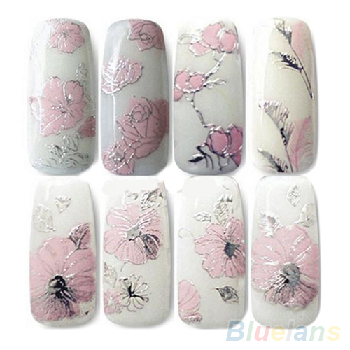 3D Nail Stickers Embossed Pink Flowers Design Nail Art Decal Tips Stickers Sheet Manicure  1ORG 2TJE 3d nail stickers embossed pink flowers