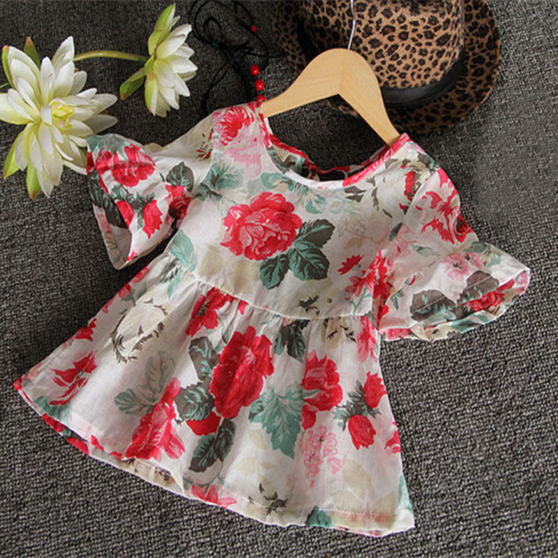 Fashion Baby Kids Girls Casual Floral Flouncing Tops Short Sleeve Blouses Shirt 1-6Y