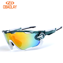 Obaolay 2017 Polarized Sports Men Sunglasses Road Cycling Glasses Mountain Bike Bicycle Riding Protection Goggles Eyewear 5 Lens